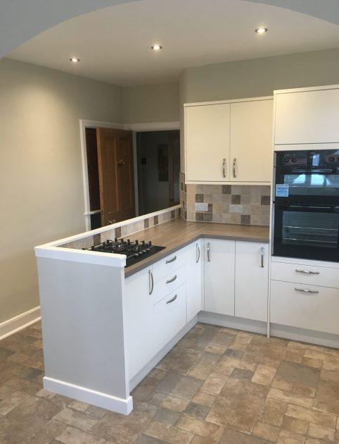 brightly decorated renovated kitchen in Edinburgh